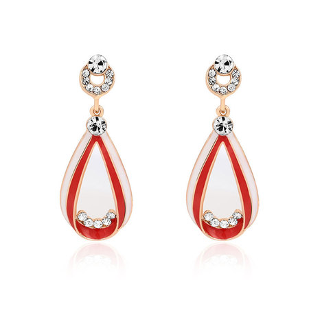 Teardrop Red & White Enamel Drop Earrings