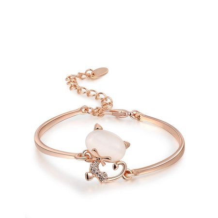 Lovely Kitty Rose Gold Bangle