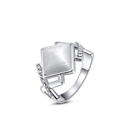 Rhombus Opal White Gold Ring