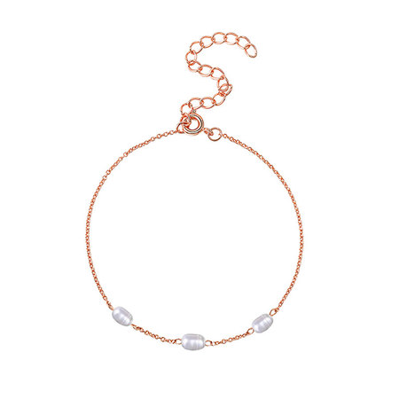 Three Pearls Rose Gold Chain Bracelet