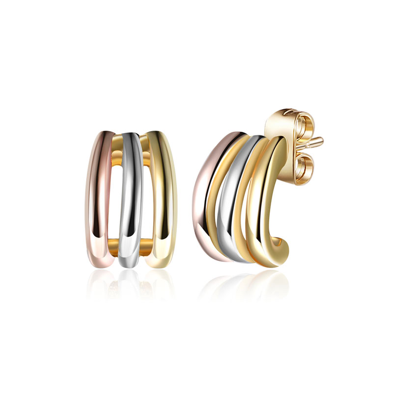 Concise Tricolor Arc Stud Earrings