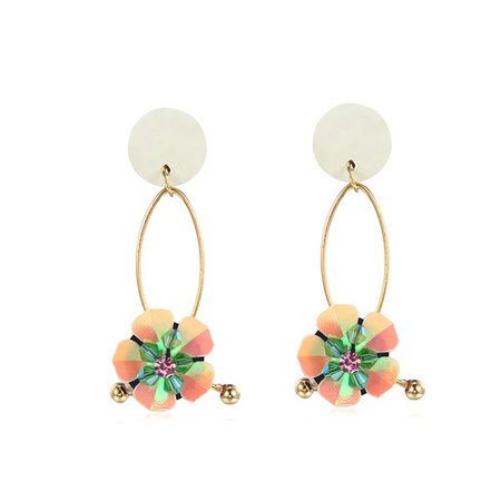 Two-Tone Sequin Petals Earrings - Cream