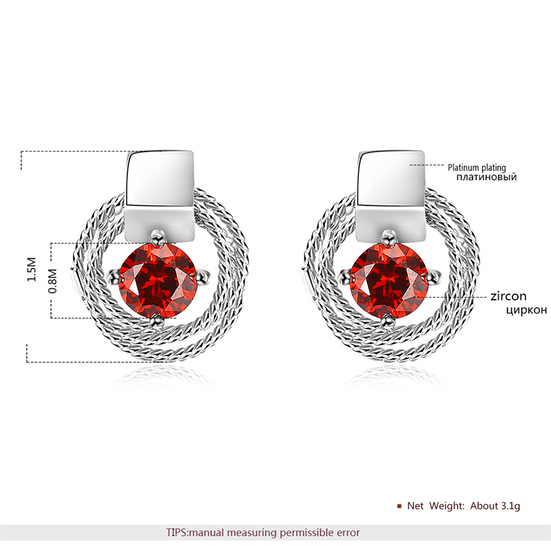 Circular Coil Solitaire Ruby Stud White Gold Earrings