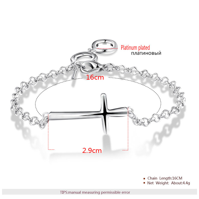 Cross With Black Chain White Gold Bracelet