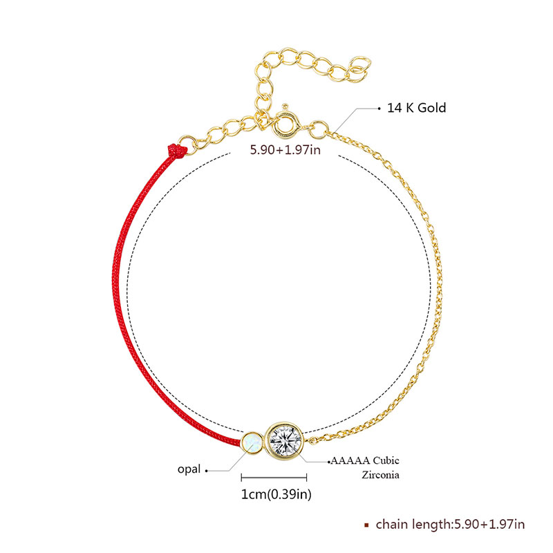 Red Cord / 18K Gold Chain Bracelet