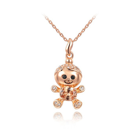 Naughty Kid Pendant Necklace - Rose