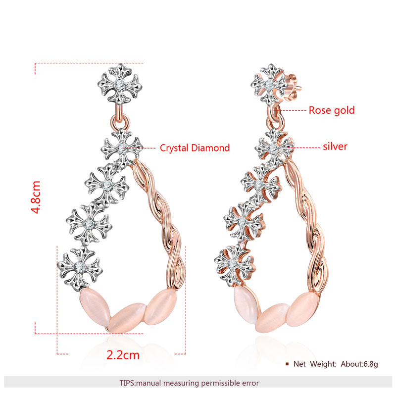 Flower Vine Two-Tone Opal Drop Earrings