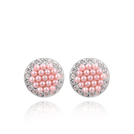 Pink Pearl White Gold Stud Earrings