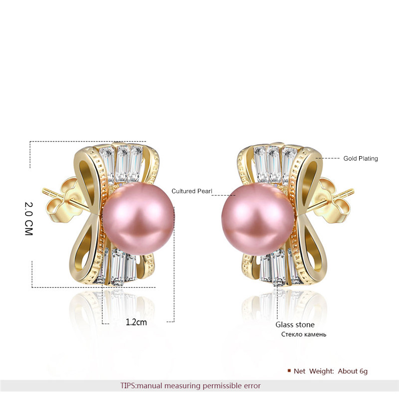 Candy Pink Pearl Stud Yellow Gold Earrings