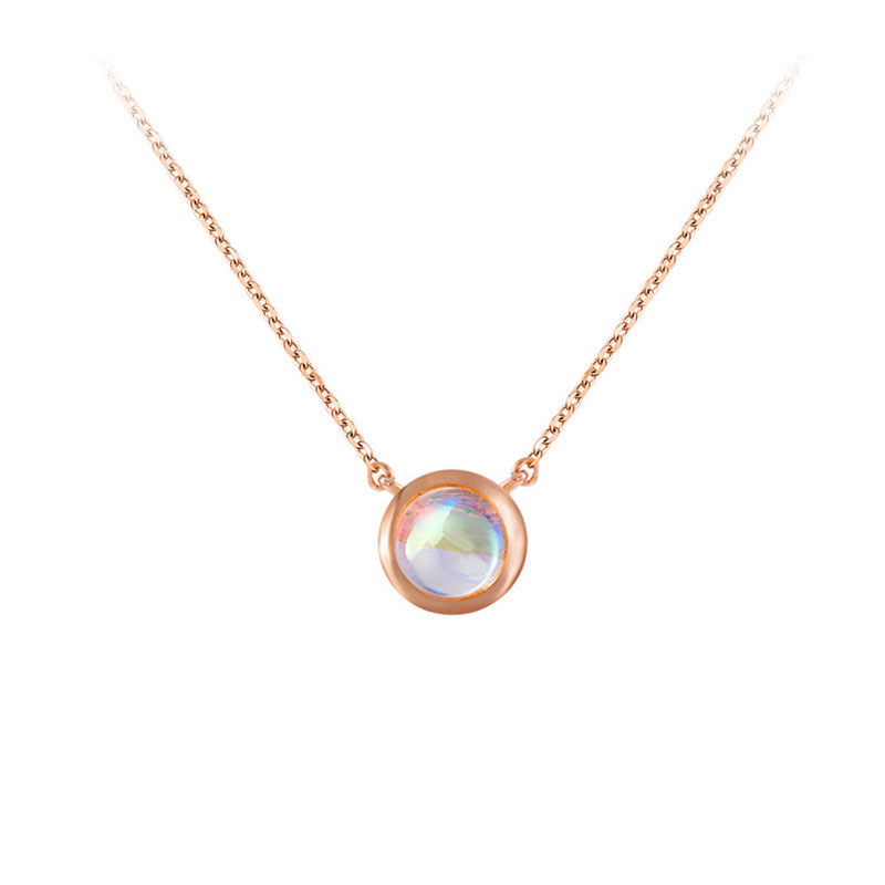 Solitaire Moonstone Rose Gold Necklace