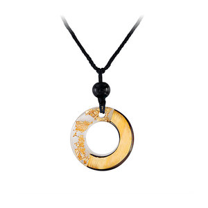 Circle White Resin Gold Foil Necklace