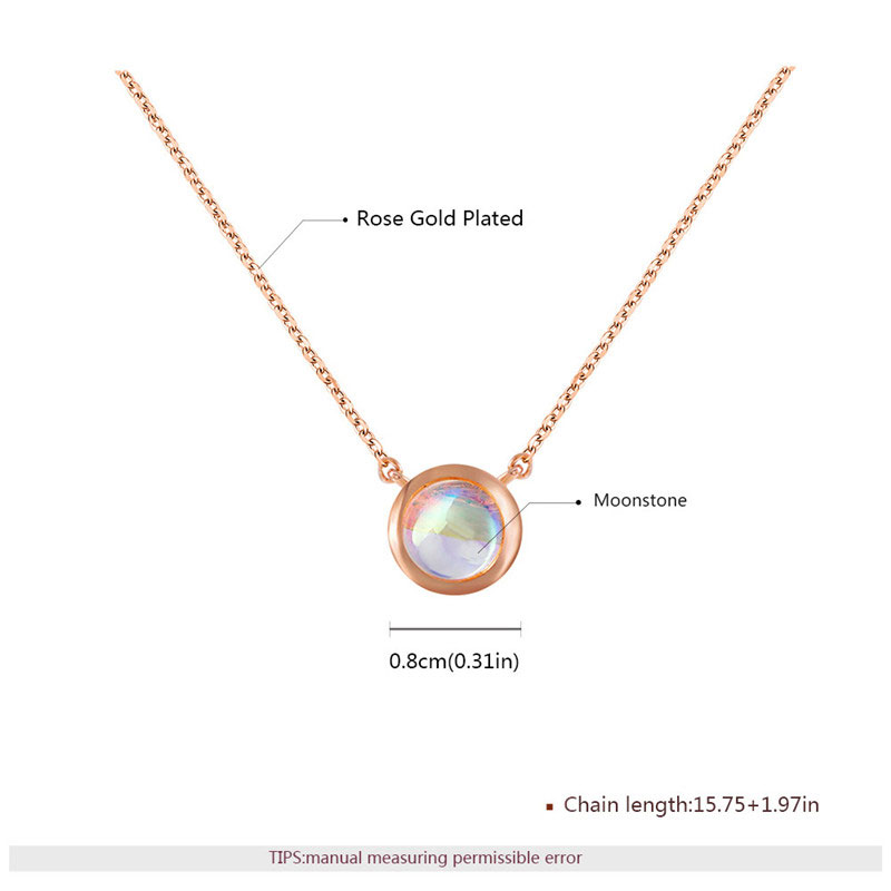 Fashion Solitaire Moonstone Pendant Rose Gold Necklace