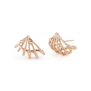 Shell-Shaped Lines Rose Gold Stud Earrings