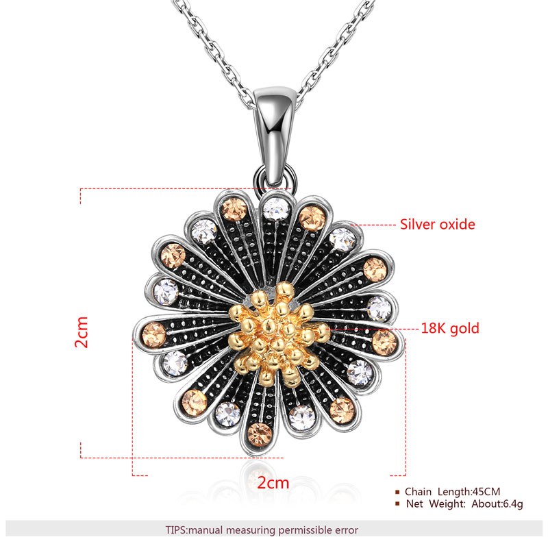 Chrysanthemum Two-Tone Pendant Necklace
