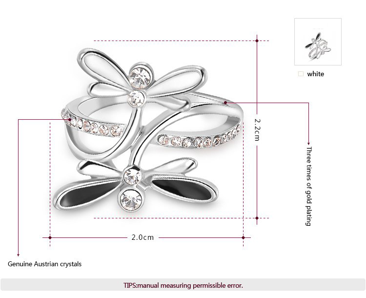 Black and White Dragonfly White Gold Ring
