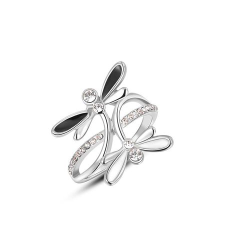 Black and White Dragonfly Ring
