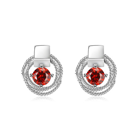 Circular Coil Solitaire Ruby Stud Earrings