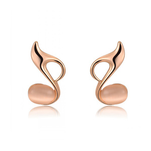 Eighth Note Opal Stud Rsoe Gold Earrings