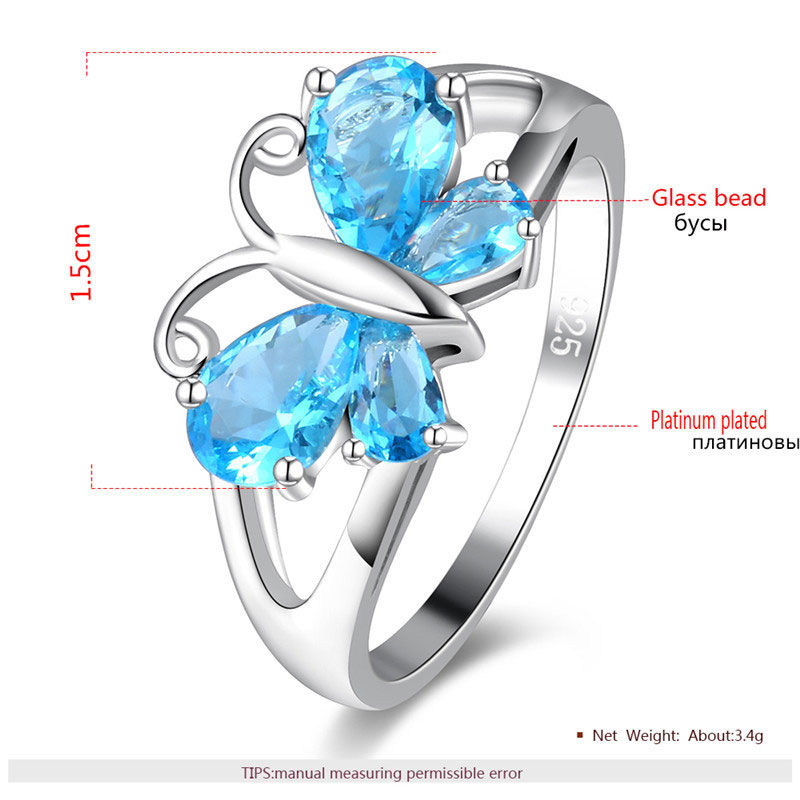Teardrop Sapphire Butterfly White Gold Ring