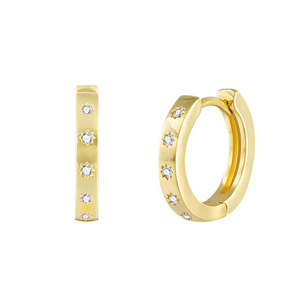 Sun Imprint Diamante 18K Gold Earrings