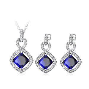 8 Shape Princess Sapphire White Gold Set