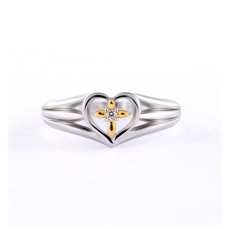 Cross in Heart Two-Tone Ring