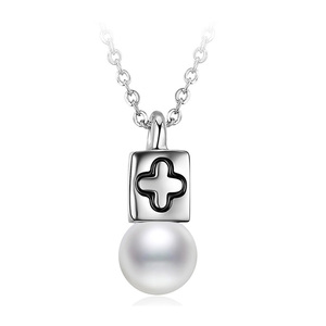Cross and Bead White Gold Necklace