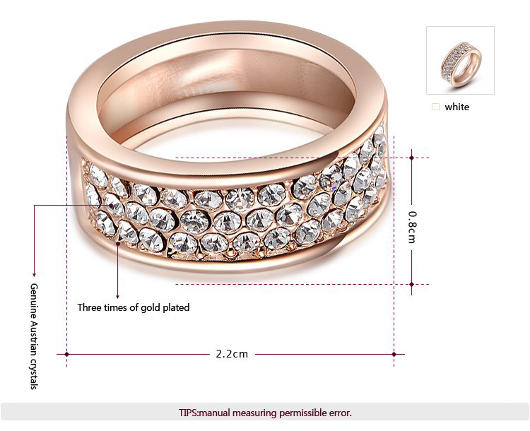 Three Row Groove Rose Gold Ring