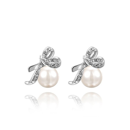Bowknot Pearl White Gold Stud Earrings