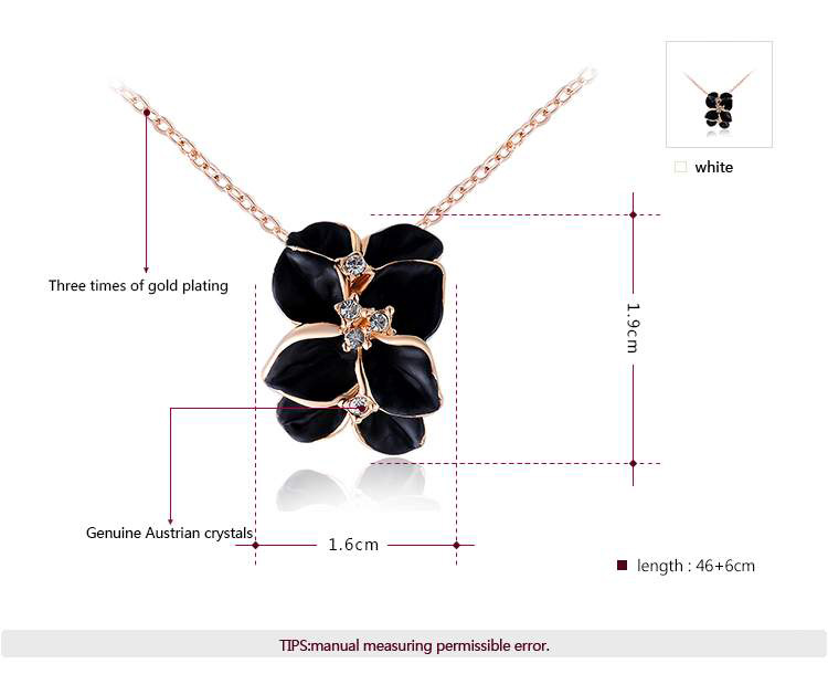 Black Rose Petal Pendant Rose Gold Necklace