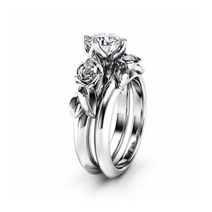 White Gold Rose Round Diamond Ring Set