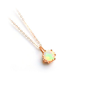 Solitaire Opal Pendant Necklace