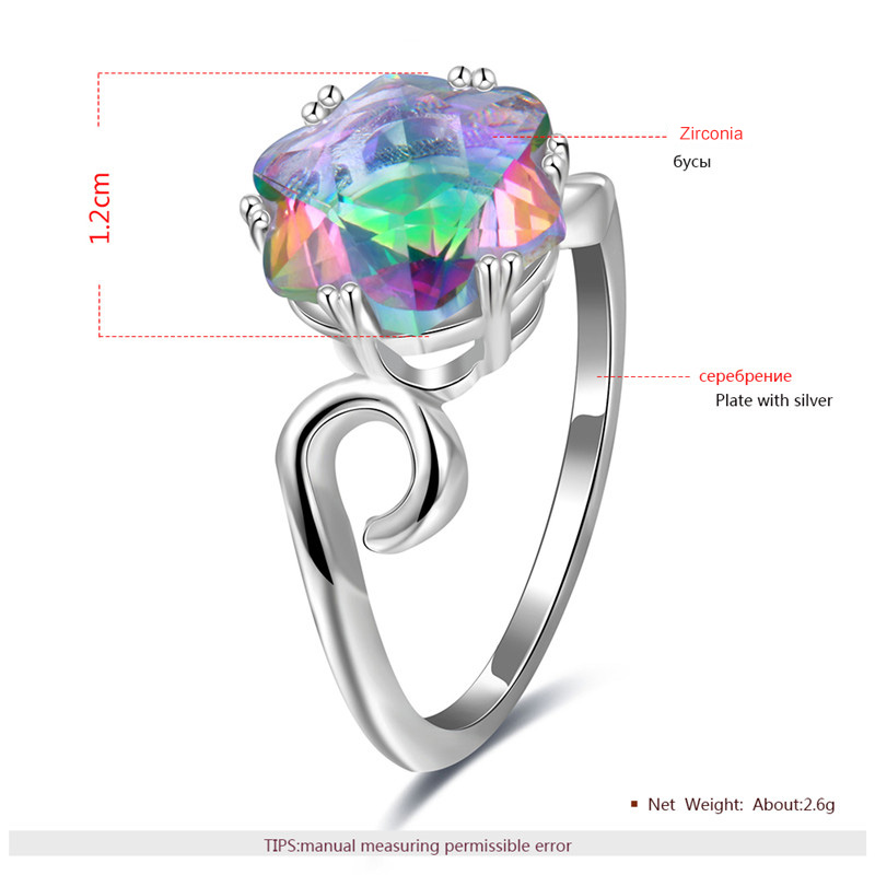 Six-Petal Flower Colored Diamond Silver Ring