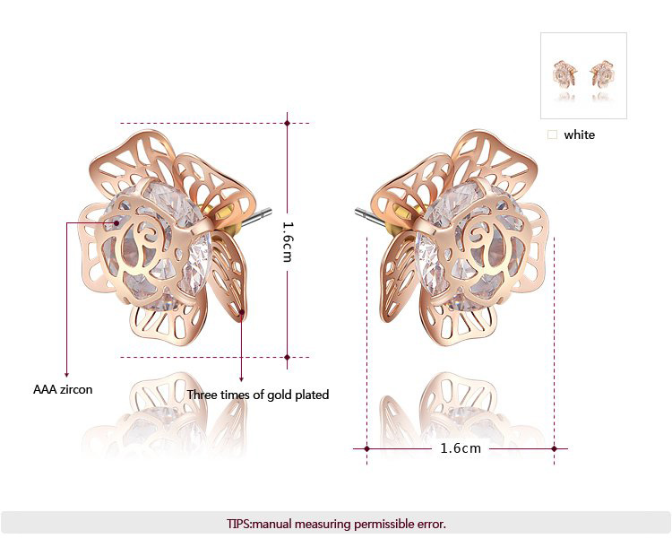 Gem Pistil Flower Rose Gold Earrings