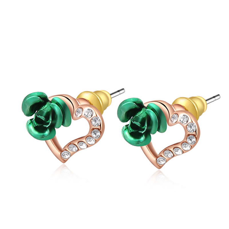 Green Flower and Heart Stud Earrings