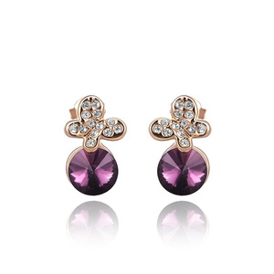 Butterfly Amethyst Rose Gold Earrings