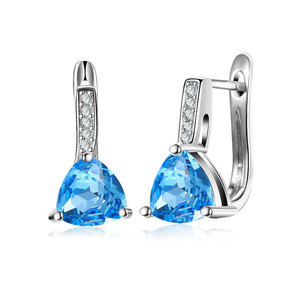 Triangle Sapphire White Gold Clip Earrings