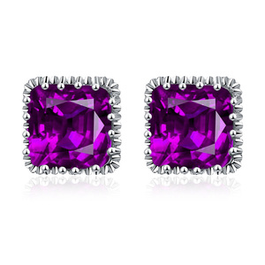 Square Amethyst Stud Earrings