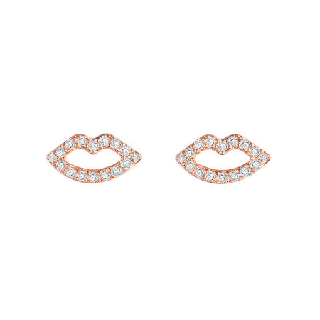 Personalized Lip Rose Gold Earrings