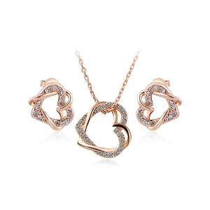Double Heart Entwine Rose Gold Set