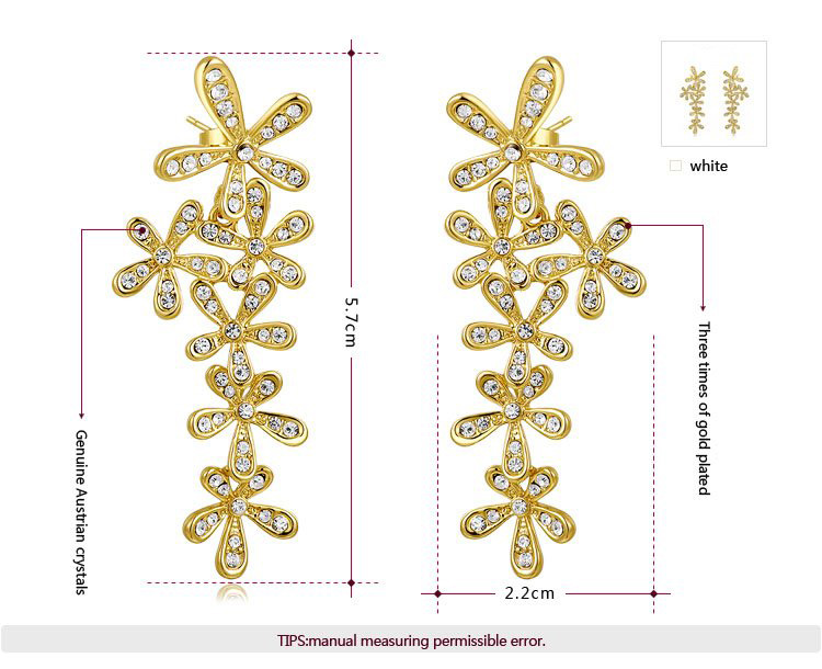 Five-Petal Flower 18K Gold Earrings