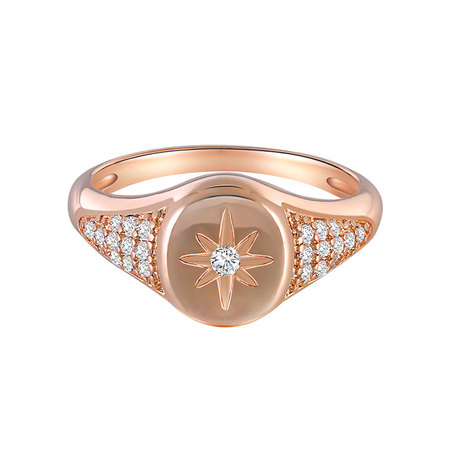 Eight Pointed Star Rose Gold Diamond Ring