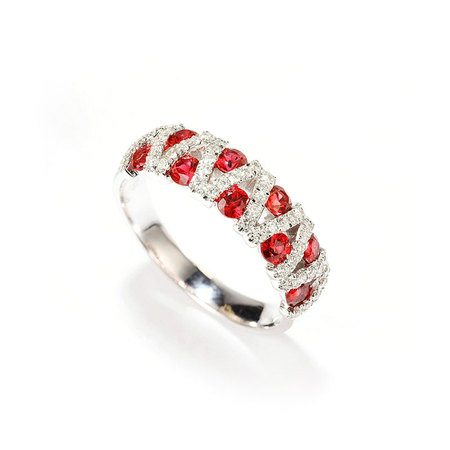 V Ruby White Gold Ring