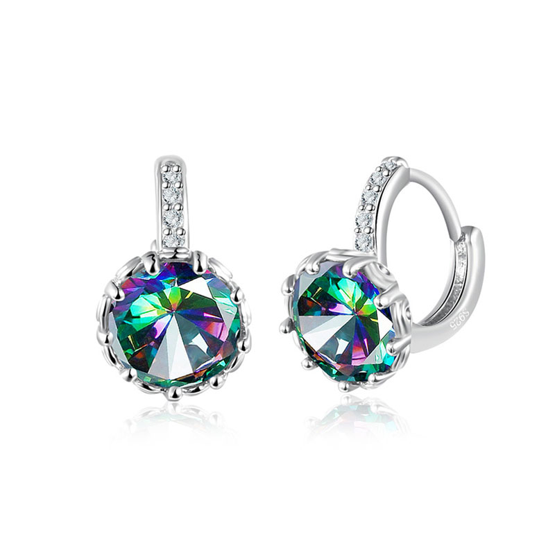 Classic Round Colourful Diamond Clip Earrings