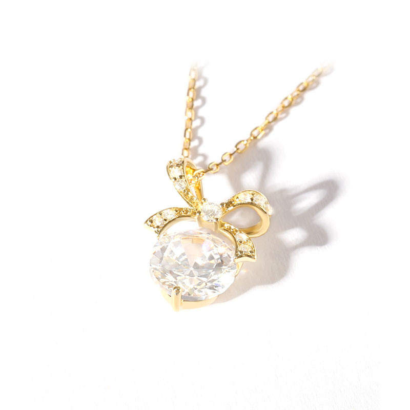 Bowknot with Round Diamond Pendant