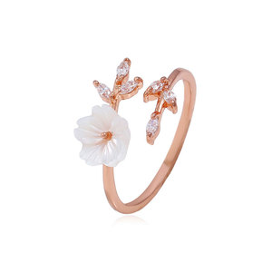 Shell Flower Adjustable Rose Gold Ring