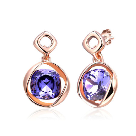 Cushion Amethyst Rose Gold Earrings