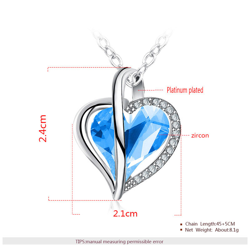 Charm of Heart Sapphire Pendant White Gold Necklace