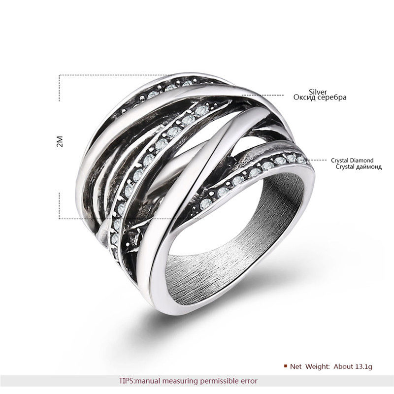 Multi-Row Intersect Silver Oxide Ring
