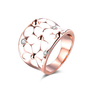 White Petals Enamel Rose Gold Ring